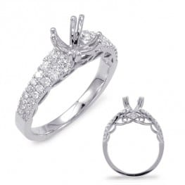 Engagement ring, white gold with side lace filigree and 36 round diamonds