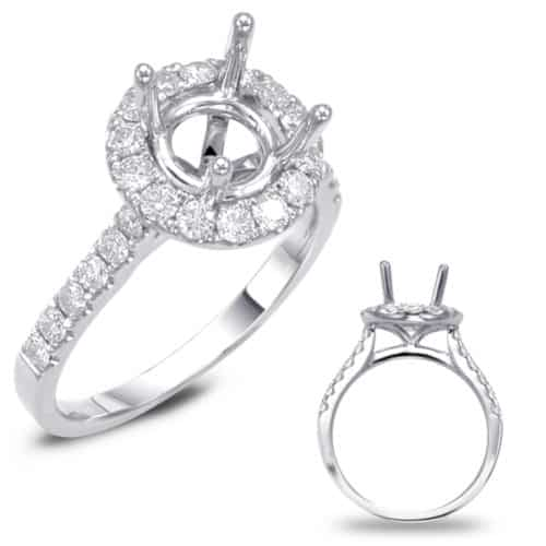 S. Kashi Platinum Halo Engagement Ring (EN7694-125PL)