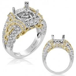 Engagement ring, Two-tone style for Round, Princess, Asscher or Cushion shaped diamond