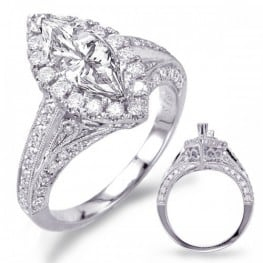 Engagement ring, Vintage Halo Style for Marquise Diamond