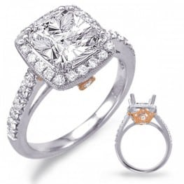 Engagement Ring, White gold and Rose gold Halo