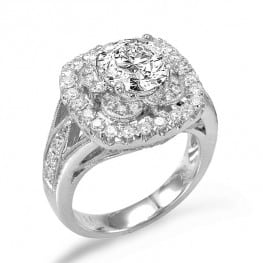 Engagement Ring, Double Halo Style for Round Diamond