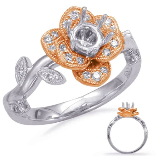 S. Kashi White  & Rose Gold Halo Engagement Ring (EN7818-30RW)