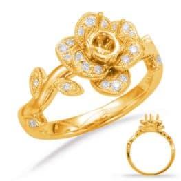 S. Kashi Yellow Gold Halo Engagement Ring (EN7818-50YG)