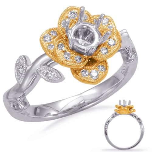 S. Kashi White & Yellow Gold Halo Engagement Ring (EN7818-50YW)