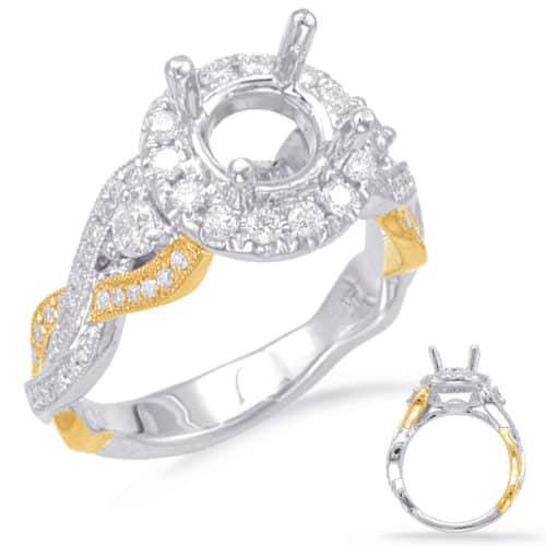 S. Kashi White & Yellow Gold Halo Engagement Ring (EN7824-1YW)