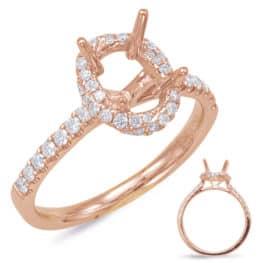 S. Kashi Rose Gold Halo Engagement Ring (EN7833-8X6MRG)