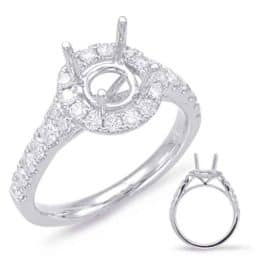S. Kashi White Gold Halo Engagement Ring (EN7847-50WG)