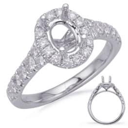 S. Kashi White Gold Halo Engagement Ring (EN7847-7X5MWG)
