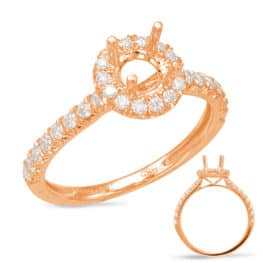 S. Kashi Rose Gold Halo Engagement Ring (EN7849-75RG)