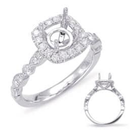 S. Kashi Platinum Halo Engagement Ring (EN7866-15PL)