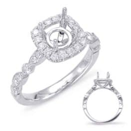 S. Kashi White Gold Halo Engagement Ring (EN7866-50WG)