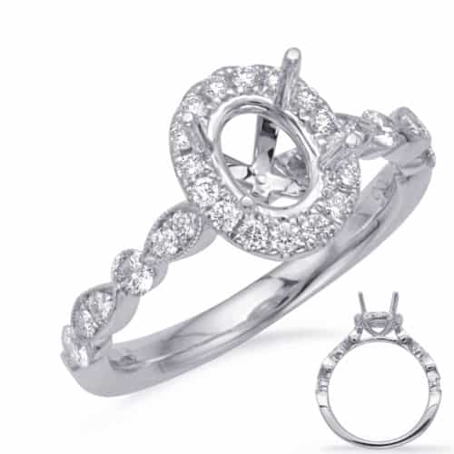 S. Kashi White Gold Halo Engagement Ring (EN7866-6X4MOVWG)