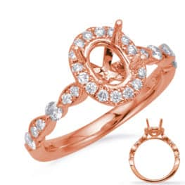 S. Kashi Rose Gold Halo Engagement Ring (EN7866-8X6MOVRG)