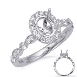 S. Kashi White Gold Halo Engagement Ring (EN7866-8X6MOVWG)