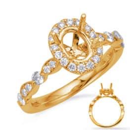 S. Kashi Yellow Gold Halo Engagement Ring (EN7866-8X6MOVYG)