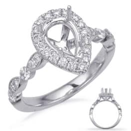 S. Kashi White Gold Halo Engagement Ring (EN7866-9X6MPSWG)