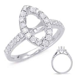 S. Kashi White Gold Halo Engagement Ring (EN7874-8X4MWG)