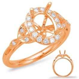 S. Kashi Rose Gold Halo Engagement Ring (EN7930-7X5MRG)
