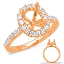S. Kashi Rose Gold Halo Engagement Ring (EN7936-7X5MRG)