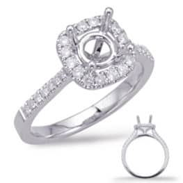 S. Kashi White Gold Halo Engagement Ring (EN7939-75WG)