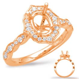 S. Kashi Rose Gold Halo Engagement Ring (EN7948-6X4MOVRG)