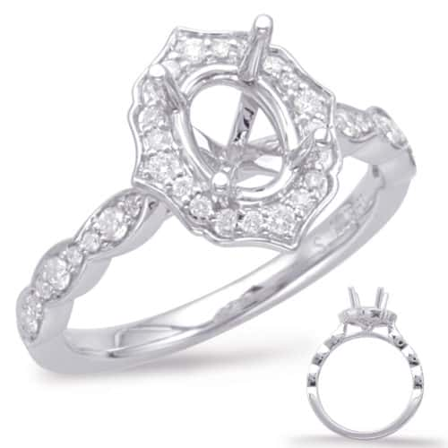 S. Kashi White Gold Halo Engagement Ring (EN7948-7X5MOVWG)