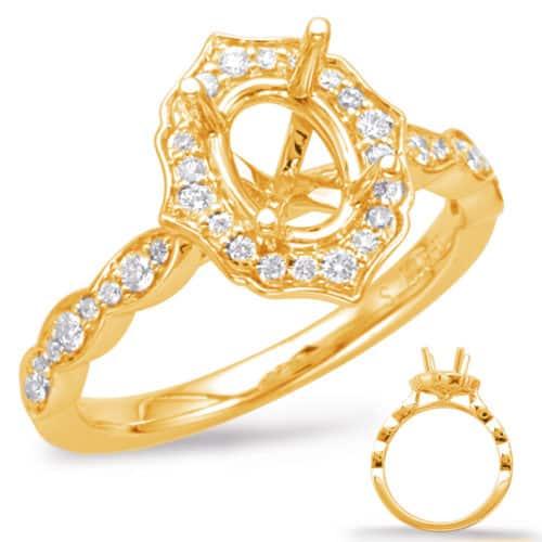 S. Kashi Yellow Gold Halo Engagement Ring (EN7948-7X5MOVYG)