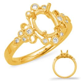 S. Kashi Yellow Gold Halo Engagement Ring (EN8044-10X8MYG)