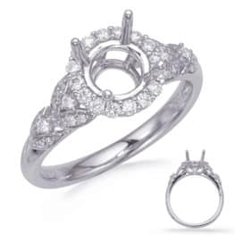S. Kashi White Gold Halo Engagement Ring (EN8067-50RDWG)