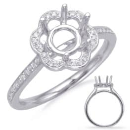 S. Kashi White Gold Halo Engagement Ring (EN8112-125WG)