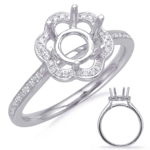 S. Kashi White Gold Halo Engagement Ring (EN8112-125WG)