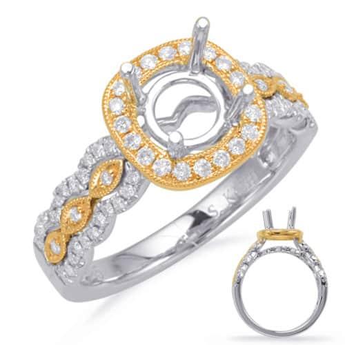S. Kashi Yellow & White Gold Halo Engagement Ring (EN8113-50YW)