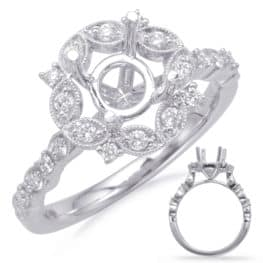 S. Kashi White Gold Halo Engagement Ring (EN8114-1WG)