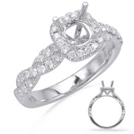 S. Kashi White Gold Halo Engagement Ring (EN8116-5.0MWG)