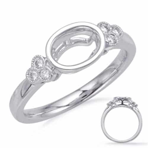 S. Kashi White Gold Bezel Head Engagement Ring (EN8125-5X3MWG)