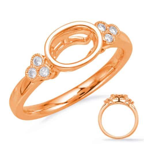 S. Kashi Rose Gold Bezel Head Engagement Ring (EN8125-6X4MRG)