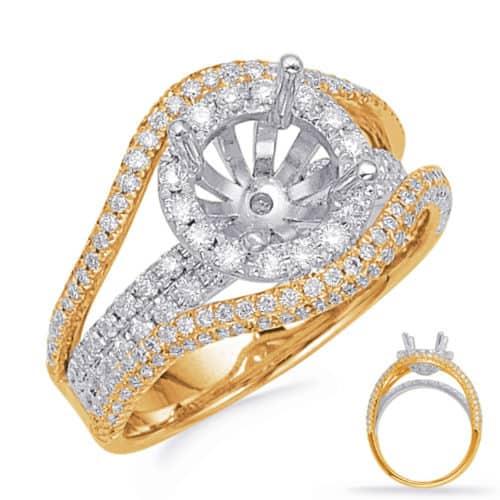 S. Kashi Yellow & White Gold Halo Engagement Ring (EN8129-1YW)