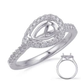S. Kashi White Gold Halo Engagement Ring (EN8208-6X4MWG)