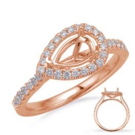 S. Kashi Rose Gold Halo Engagement Ring (EN8208-9X6MRG)
