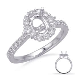S. Kashi White Gold Halo Engagement Ring (EN8217-6X4MWG)