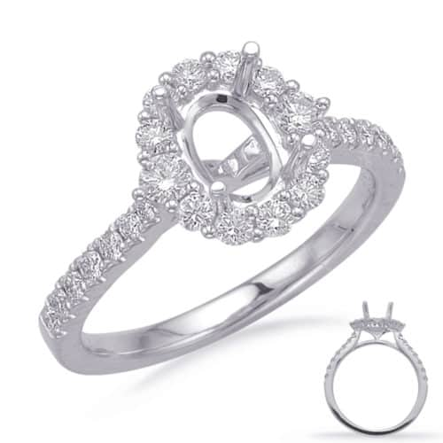 S. Kashi White Gold Halo Engagement Ring (EN8217-8X6MWG)