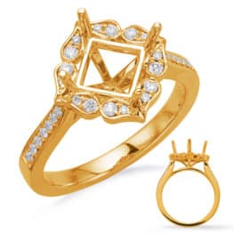 S. Kashi Yellow Gold Halo Engagement Ring (EN8227-6MYG)