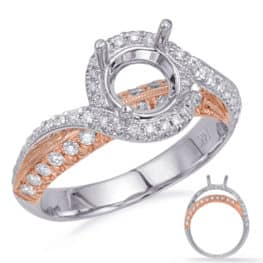 S. Kashi Rose & White Gold Engagement Ring (EN8229-1RW)