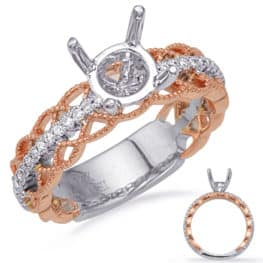 S. Kashi Rose & White Gold Engagement Ring (EN8230-1RW)