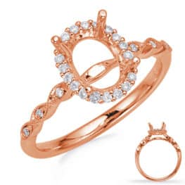 S. Kashi Rose Gold Halo Engagement Ring (EN8234-8X6MRG)