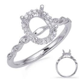 S. Kashi White Gold Halo Engagement Ring (EN8234-8X6MWG)