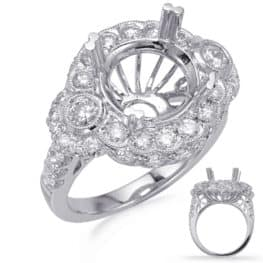 S. Kashi White Gold Halo Engagement Ring (EN8237-4WG)