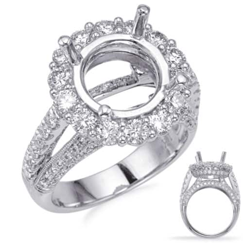 S. Kashi White Gold Halo Engagement Ring (EN8238-4WG)