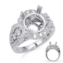 S. Kashi White Gold Halo Engagement Ring (EN8242-3WG)
